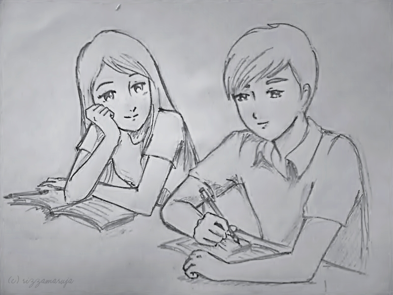 Cute pencil sketches of love images for Simple drawings for love